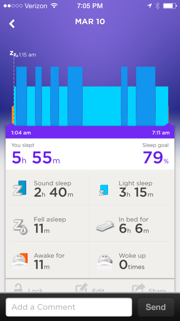 UP Sleep stats